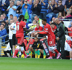 Cardiff City's Kenwyne Jones is replaced by Cardiff City's Nicky Maynard - Photo mandatory by-line: Alex James/JMP - Mobile: 07966 386802 30/08/2014 - SPORT - FOOTBALL - Cardiff - Cardiff City stadium - Cardiff City  v Norwich City - Barclays Premier League