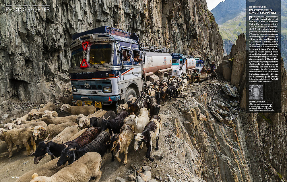 """Appeared in the """"Photoreporter"""" section of GEO France, April 2015. Photo of Zojila Pass leading from Ladakh in Kashmir, India by Blaine Harrington III."""