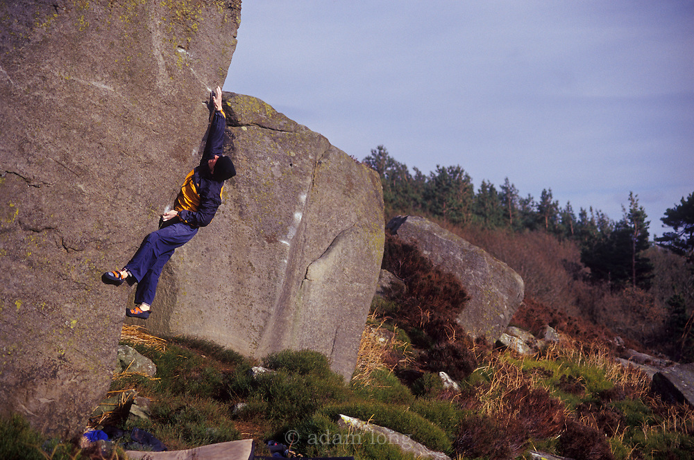 Ben Moon making the first ascent of Cypher, 8b, Slipstones