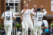 Wicket! Oliver Hannon-Dalby of Warwickshire celebrates after taking the wicket of Adam Lyth of Yorkshire during the Specsavers County Champ Div 1 match between Yorkshire County Cricket Club and Warwickshire County Cricket Club at York Cricket Club, York, United Kingdom on 17 June 2019.