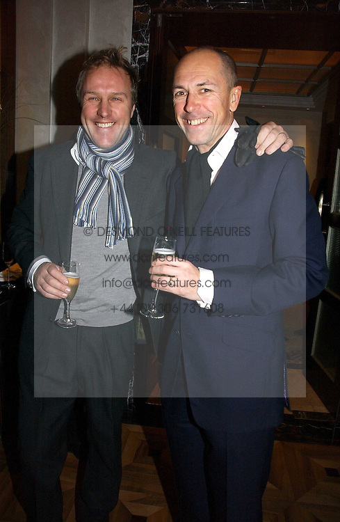 Left to right, SIMON MILLS and DYLAN JONES at a party to celebrate the publication of 'Dancing into Waterloo' by Nick Foulkes held at The Westbury Hotel, Conduit Street, London on 14th December 2006.<br />