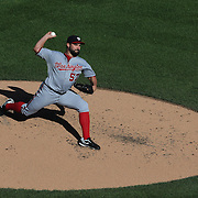 Pitcher Tanner Roark, Washington Nationals, pitching during the New York Mets Vs Washington Nationals MLB regular season baseball game at Citi Field, Queens, New York. USA. 4th October 2015. Photo Tim Clayton