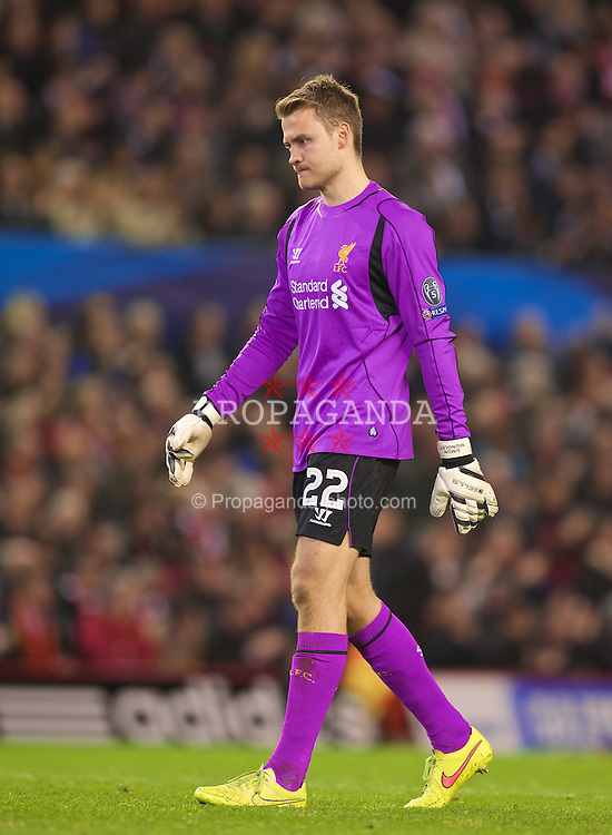 LIVERPOOL, ENGLAND - Wednesday, October 22, 2014: Liverpool's goalkeeper Simon Mignolet in action against Real Madrid CF during the UEFA Champions League Group B match at Anfield. (Pic by David Rawcliffe/Propaganda)
