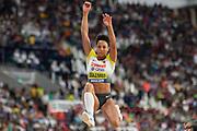 Malaika Mihambo (Germany), 3rd Jump of 7.30m, longest jump of the Women's Long Jump Final competition during the 2019 IAAF World Athletics Championships at Khalifa International Stadium, Doha, Qatar on 6 October 2019.