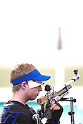 Nathan Milgate of GBR in The Beijing Shooting Hall competeing in the Men's R1 10 metre Air Rifle Standing SH1 at the Paralympic games, Beijing, China. 8th September 2008