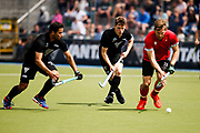Malachi Buschul and George Muir of the Black Sticks challenge at the final game of the Black Sticks v Canada Test Matches 21 October 2018. Copyright photo: Alisha Lovrich / www.photosport.nz