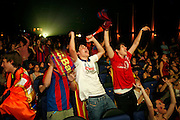 Fans of F.C. Barcelona celebrates the victory of their team in the final of the UEFA Champions League  disputed in Rome. F.C Barcelona won Manchester United obtaining his third championship of Europe.