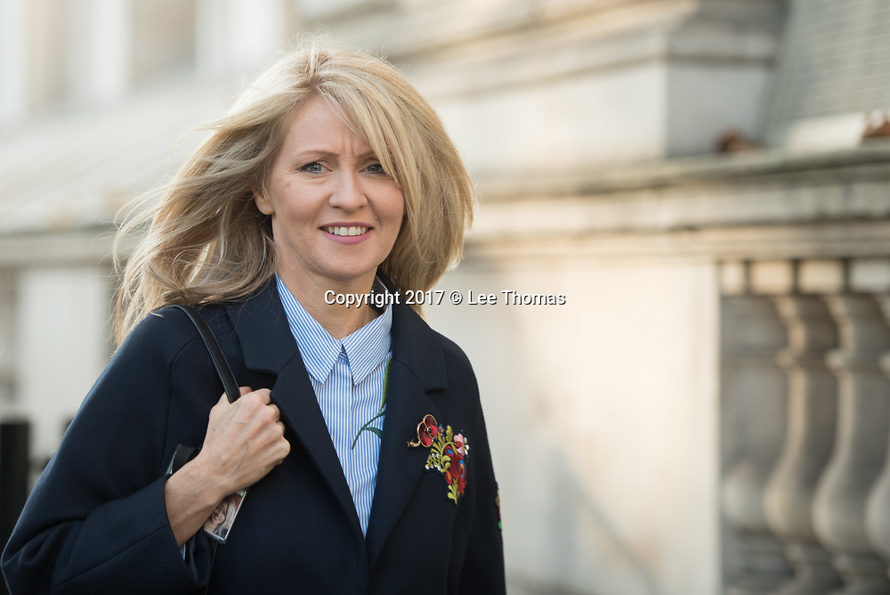Whitehall, London, UK. 6th November 2017. New Conservative chief whip Esther McVey arrives at Downing Street. Pictured:  Arrival // Lee Thomas, Flat 47a Park East Building, Bow Quarter, London, E3 2UT. Tel. 07784142973. Email: leepthomas@gmail.com  www.leept.co.uk (0000635435)
