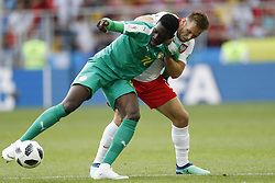 (l-r) Ismaila Sarr of Senegal, Maciej Rybus of Poland during the 2018 FIFA World Cup Russia group H match between Poland and Senegal at the Otkrytiye Arena on June 19, 2018 in Moscow, Russia