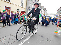 Derek O Regan , On yer Bike Cycles in The best  Galway St Patrick's Day Parade in years with a hugely international feel to it . photo:Andrew Downes. Photo:Andrew Downes
