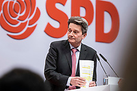 06 DEC 2019, BERLIN/GERMANY:<br /> Rolf Muetzenich, SPD Fraktionsvorsitzender, SPD Bundesprateitag, CityCube<br /> IMAGE: 20191206-01-012<br /> KEYYWORDS: Party Congress, Parteitag, Rolf Mützenich