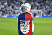 "The ""Mitre"" match ball on the ""skybet"" , ""EFL"" branded plinth during the EFL Sky Bet Championship play-off second leg match between West Bromwich Albion and Aston Villa at The Hawthorns, West Bromwich, England on 14 May 2019."
