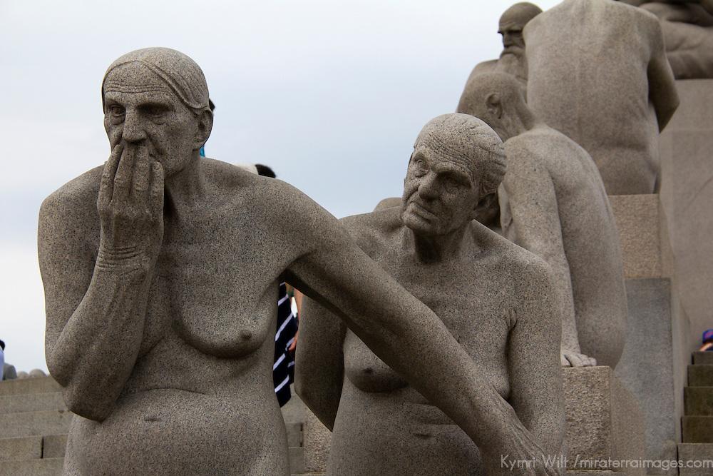 Europe, Norway, Oslo. Granite statues of human figures at Frogner Park, by Gustav Vigeland.