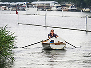 Henley Royal Regatta, Henley on Thames, Oxfordshire, 28 June - 2 July 2017.  Wednesday  08:42:26   28/06/2017  [Mandatory Credit/Intersport Images]<br /> <br /> Rowing, Henley Reach, Henley Royal Regatta.<br /> <br /> Guy Lewis of Kingston Rowing Club inspecting the course before the the start of racing