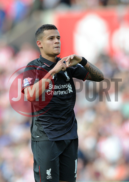 Philippe Coutinho of Liverpool celebrates his goal - Mandatory byline: Dougie Allward/JMP - 07966386802 - 09/08/2015 - FOOTBALL - Britannia Stadium -Stoke-On-Trent,England - Stoke City v Liverpool - Barclays Premier League
