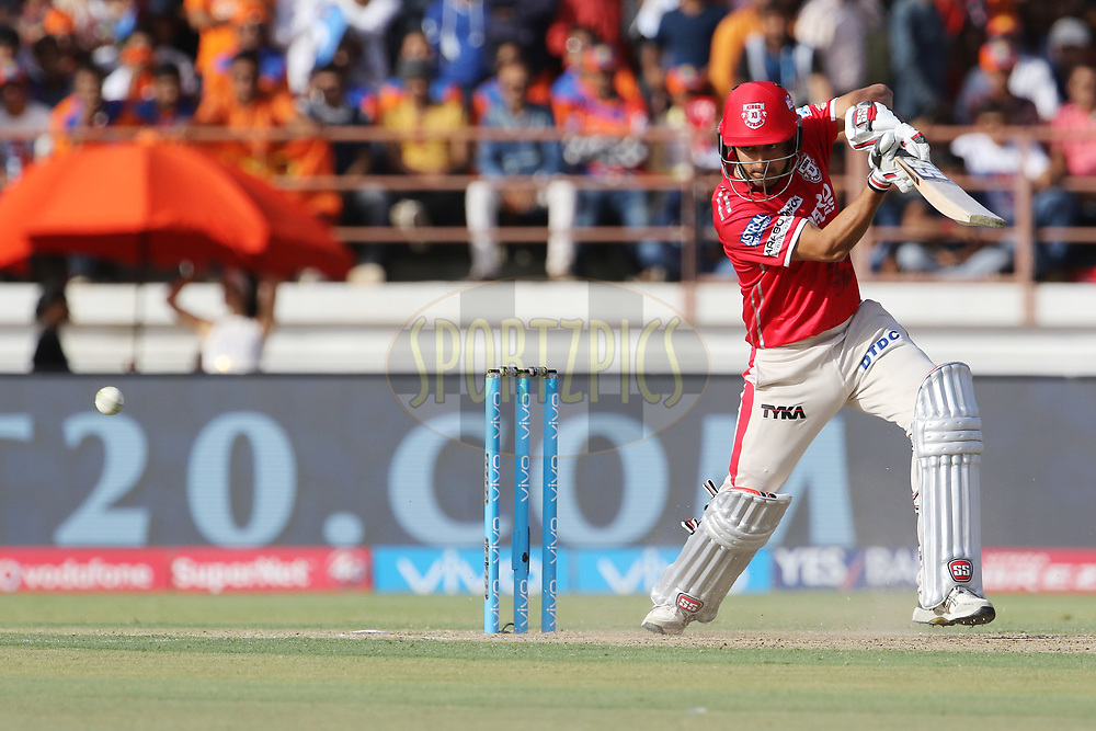 Mohit Sharma of Kings XI Punjab plays a shot during match 26 of the Vivo 2017 Indian Premier League between the Gujarat Lions and the Kings XI Punjab held at the Saurashtra Cricket Association Stadium in Rajkot, India on the 23rd April 2017<br /> <br /> Photo by Vipin Pawar - Sportzpics - IPL