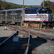 A VRE train in the yard outside of Fredericksburg, Virginia.