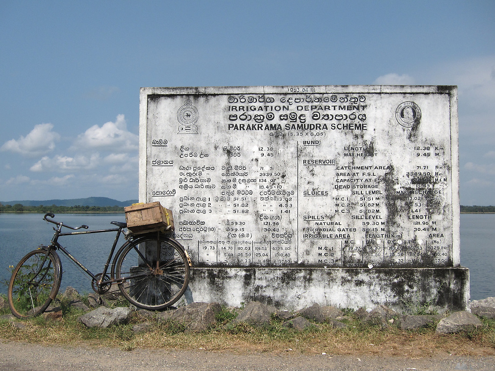 """A board at Polunnaruwa showing the details of the local irrigation scheme. All over Sri Lanka are various """"tanks"""" - reservoirs; this one - Parakrama Samudra was built in approximately 1200 AD"""