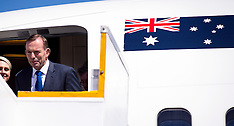 Auckland-Australian Prime Minister Tony Abbott touches dow for first visit