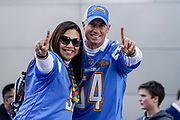 Los Angeles Chargers fans at the International Series match between Tennessee Titans and Los Angeles Chargers at Wembley Stadium, London, England on 21 October 2018.