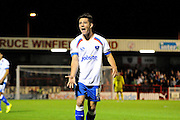 Conor Chaplin screams for the ball during the Sky Bet League 2 match between Crawley Town and Portsmouth at the Checkatrade.com Stadium, Crawley, England on 18 August 2015. Photo by Michael Hulf.