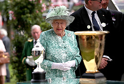 Queen Elizabeth II before presenting the trophy for the Diamond Jubilee Stakes during day five of Royal Ascot at Ascot Racecourse.