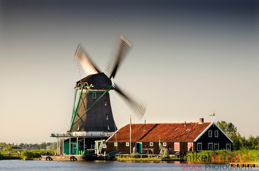 Windmill. Zaanse Schans, Holland, Netherlands.