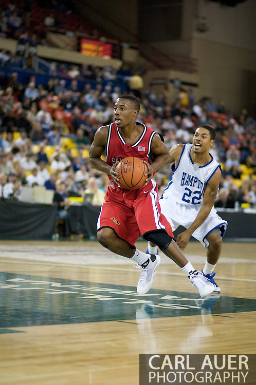 November 29, 2008: San Diego State guard D.J. Gay (23) gets past Hampton's Chad Easterling (22) in the championship game of the 2008 Great Alaska Shootout at the Sullivan Arena.  San Diego State would keep Hampton scoreless for most of the first 7 minutes of the game and never look back on the Aztec's run to the win Saturday night.