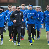 St Johnstone's Brian Easton pictured in training running alongside David Wotherspoon, Callum Davidson and Brian Graham ahead of Sundays game against Hamilton Accies...30.12.14<br /> Picture by Graeme Hart.<br /> Copyright Perthshire Picture Agency<br /> Tel: 01738 623350  Mobile: 07990 594431