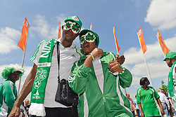 26.06.2011, Rhein-Neckar-Arena, Sinsheim, GER, FIFA Women´s Worldcup 2011, GRUPPE A, NIGERIA (NGA) vs FRANKREICH (FRA) , im Bild Nigerianische Fans vor dem Stadion  // during the FIFA Women´s Worldcup 2011, Pool A, Nigeria (NGA) vs France (FRA) on 2011/06/26, Rhein-Neckar-Arena, Sinsheim, Germany. EXPA Pictures © 2011, PhotoCredit: EXPA/ nph/  Roth       ****** out of GER / SWE / CRO  / BEL ******