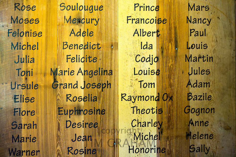 Slave names in slave quarters at Oak Alley plantation antebellum Mississippi mansion house, Vacherie, Louisiana, USA