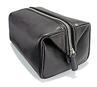Leather dopp kit on white background