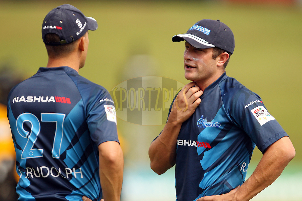Jacques Rudolph and Roelof van der Merwe during a press conference and practice session of the Titans in the Karbonn Smart CLT20 held at Centurian, Cape Town, South Africa on the 25th October 2012. Photo by Jacques Rossouw/SPORTZPICS/CLT20