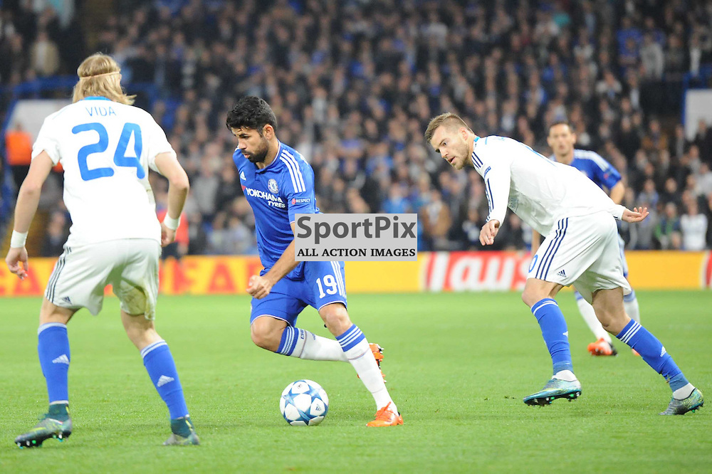 Chelseas Diego Costa breaks throught the Dynamo Kiev defence during the Chelsea v Dynamo Kiev champions league match in the group stage on the 4th November 2015