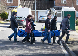 © Licensed to London News Pictures. 08/03/2018. Salisbury, UK. Police prepare to erect a tent outside the house of Sergei Skripal before begining a search of his home. Former Russian spy Sergei Skripal, his daughter Yulia and a policeman are still critically ill after being poisoned with nerve agent. The couple where found unconscious on bench in Salisbury shopping centre. Authorities continue to investigate. Photo credit: Peter Macdiarmid/LNP