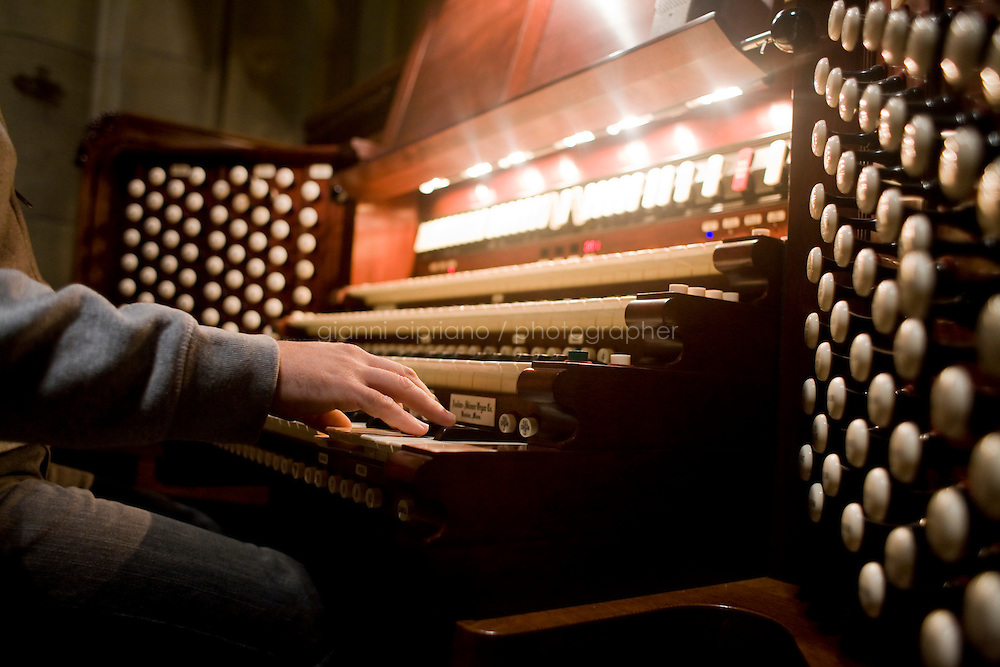 25 November, 2008. New York, NY. Joseph Nielse, 36, tunes the &quot;new&quot; organ at the Cathedral of St. John the Divine. The organ at the Cathedral of St. John the Divine, heavily damaged in a fire in 2001, has been rebuilt. The organ has been tuned for the last couple of weeks.  &copy;2008 Gianni Cipriano for The New York Times<br /> cell. +1 646 465 2168 (USA)<br /> cell. +1 328 567 7923 (Italy)<br /> gianni@giannicipriano.com<br /> www.giannicipriano.com
