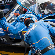 Driver change at the Alpine Signatech team during final practice. WEC contenders take place in the final free practice session for the Spa 6 Hours race.  The FIA hosts round two of the 2017 World Endurance Championship at the Spa Francorchamps Circuit in Belgium