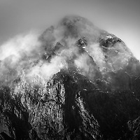 The peak of the mighty Stob Dearg slowly becomes visible from the moor below.