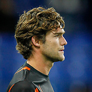 Chelsea defender Marcos Alonso (3) warming up before the Champions League match between Chelsea and Valencia CF at Stamford Bridge, London, England on 17 September 2019.