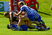 Bradford Bulls hooker Sam Hallas (29) is held up during the Kingstone Press Championship match between Halifax RLFC and Bradford Bulls at the MBi Shay Stadium, Halifax, United Kingdom on 2 July 2017. Photo by Simon Davies.