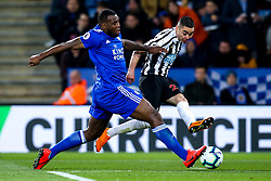 Miguel Almiron of Newcastle United takes on Wes Morgan of Leicester City - Mandatory by-line: Robbie Stephenson/JMP - 12/04/2019 - FOOTBALL - King Power Stadium - Leicester, England - Leicester City v Newcastle United - Premier League