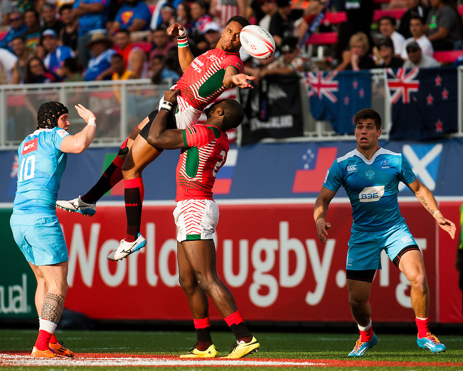 Kenya play Russia during the pool stage of the 2016 USA Sevens leg of the HSBC Sevens World Series at Sam Boyd Stadium  Las Vegas, Nevada. March 4, 2016.<br /> <br /> Jack Megaw for USA Sevens.<br /> <br /> www.jackmegaw.com<br /> <br /> 610.764.3094<br /> jack@jackmegaw.com