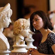 Looking at a portrait bust of Lucilla, wife of the Roman Emperor Lucius Verus, circa 160-170 in the State  Hermitage Museum. <br /> Photography by Jose More