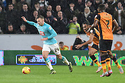 Derby County's Andreas Weimann  during the Sky Bet Championship match between Hull City and Derby County at the KC Stadium, Kingston upon Hull, England on 27 November 2015. Photo by Ian Lyall.
