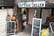 The Fish Seller shop sign, Cadgwith, Lizard peninsula, Cornwall, England, UK