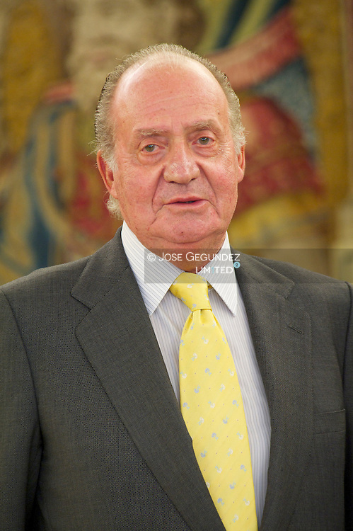 Spanish King Juan Carlos I attends a Meeting with  the President of the Republic of Seychelles, Mr. James A. Michel at Palacio de la Zarzuela in Madrid