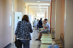 May 26, 2019 - Svilengrad, Bulgaria - Elderly people voting for Bulgarian members of the European Parliament in the town of Svilengrad on the Bulgarian-Turkish border, on May 26, 2019  (Credit Image: © Hristo Rusev/NurPhoto via ZUMA Press)