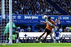 Lucas Digne of Everton scores an own goal to make it 2-2 - Mandatory by-line: Robbie Stephenson/JMP - 01/09/2019 - FOOTBALL - Goodison Park - Liverpool, England - Everton v Wolverhampton Wanderers - Premier League