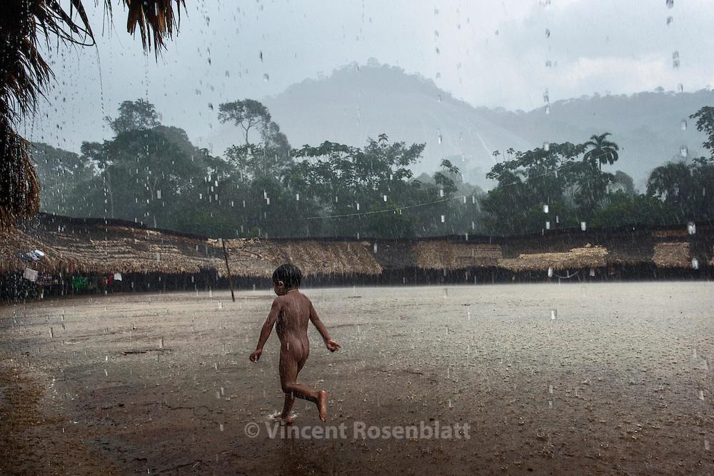 Tropical rain in the village.