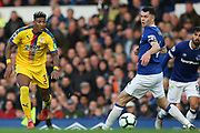 Crystal Palace defender Patrick van Aanholt (3) and Everton defender Michael Keane (4) during the Premier League match between Everton and Crystal Palace at Goodison Park, Liverpool, England on 21 October 2018.